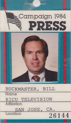 buckmaster_campaign_84.1984-Bill-Buckmasters-1984-Election-Press-Pass