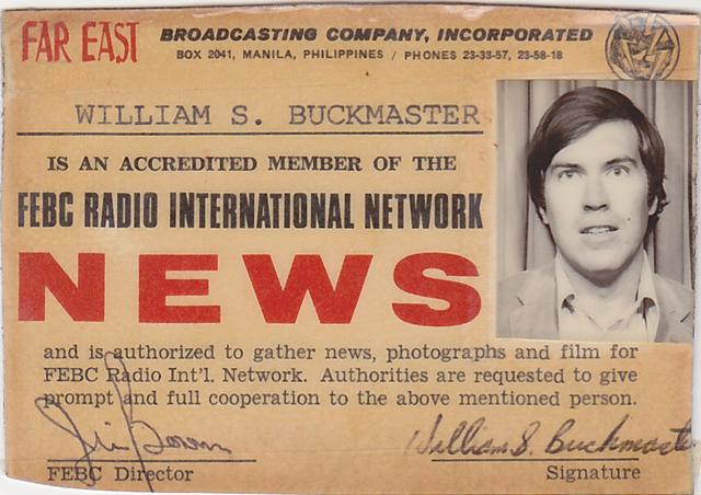 buckmaster_febc.1971-Bill-Buckmasters-Press-Pass-for-the-Far-East-Broadcasting-Company