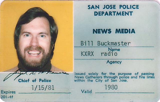 buckmaster_radio_san_jose.1980-Bill-Buckmasters-Press-Pass-for-San-Jose-Radio